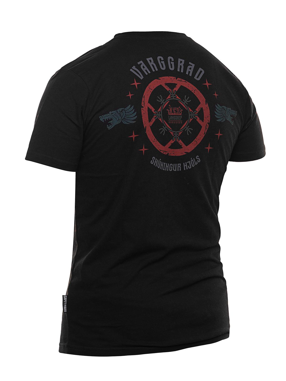 Футболка Варгградъ мужская чёрная (красный/серый)