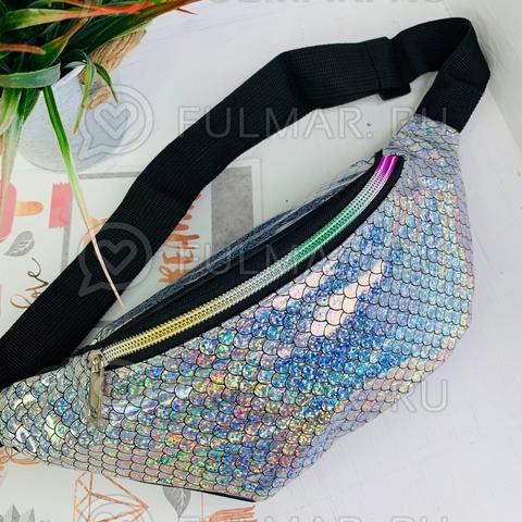 80595356265 Блестящая поясная сумка летняя для девочки гладкая голографическая  Русалочка Серебристая