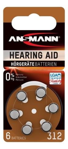 Батарейка для слуховых аппаратов AZA 312 ANSMANN - 6 шт