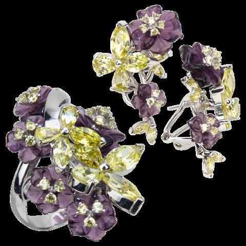 Комплект украшений с цветами из фиолетового кварца и фианитами № 140