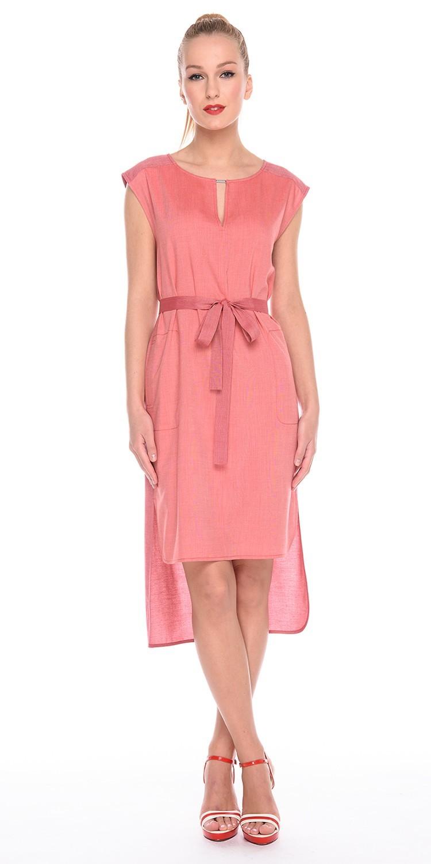 Платье З202-576 - Легкое платье с асимметричным подолом и поясом. Незаменимая вещь для жаркого лета. Натуральная ткань позволяет коже дышать, а свободный силуэт обеспечивает легкость движений. Универсальный фасон платья позволяет носить его как в рабочей обстановке, так и на отдыхе.
