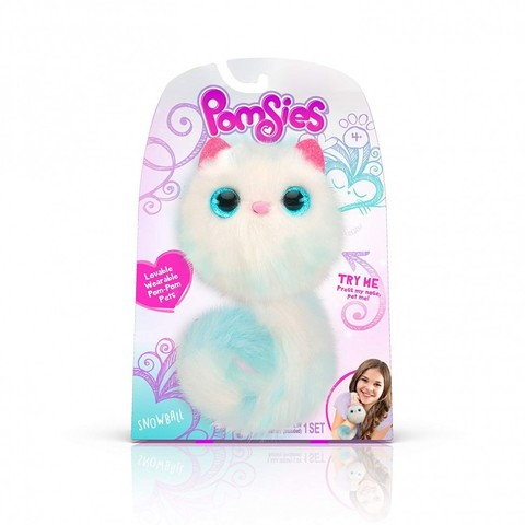 Pomsies Snowball, интерактивный котенок Помси Снежок оригинал