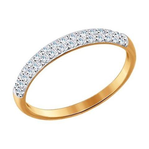 017149- Тонкое кольцо из золота с фианитами
