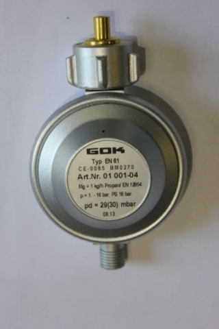 Регулятор давления GOK 30мбар 1кг/ч с выходом 1/4 для композитного баллона