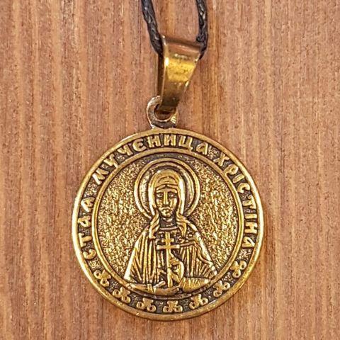 святая Кристина именная нательная икона из бронзы кулон с молитвой