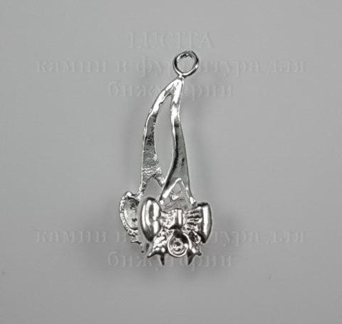 Держатель для кулона 26х9 мм (цвет - серебро) ()