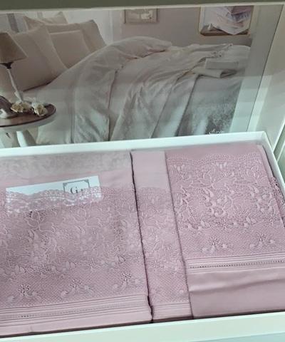 Набор КПБ с покрывалом +полотенце EVIN сухая роза Gelin Home  евро