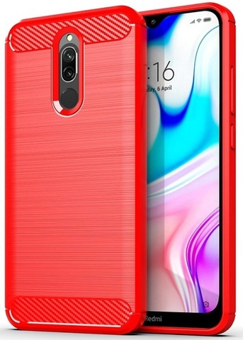 Чехол Xiaomi Redmi 8 цвет Red (красный), серия Carbon, Caseport