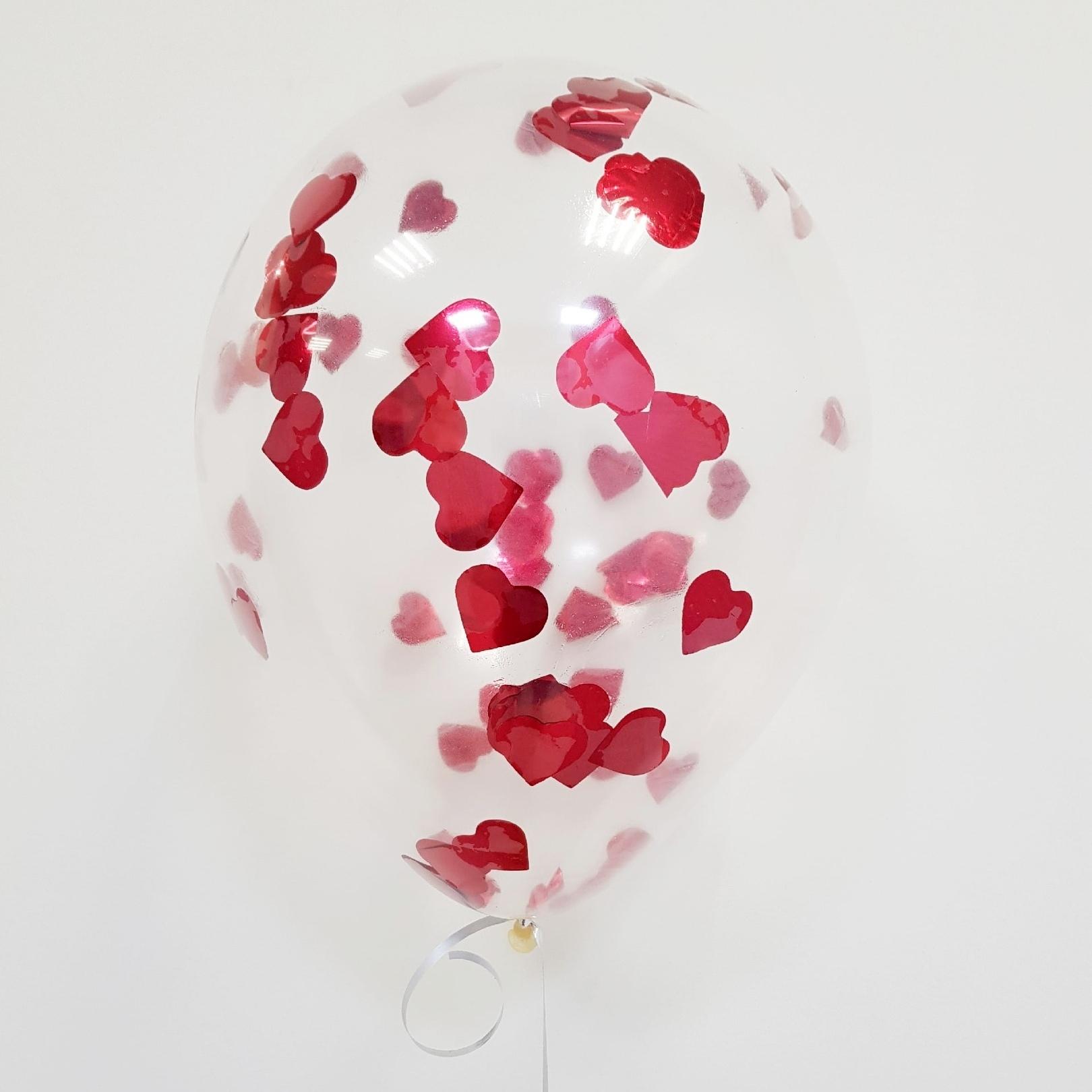 Латексный воздушный шар, с конфетти красные сердца
