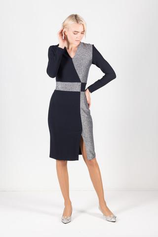 Фото комбинированное платье из тканей-компаньонов с контрастным поясом - Платье З416-213 (1)