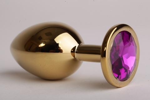 Анальная пробка золотая с фиолетовым кристаллом 9,5х4см, сталь