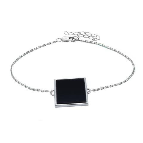 Серебряный браслет с черным обсидианом