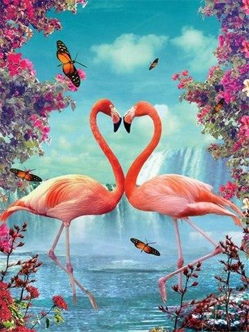Картина раскраска по номерам 40x50 Любовь фламинго у водопада