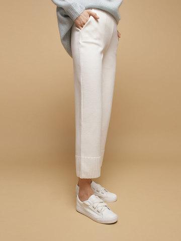 Женские брюки белого цвета из шерсти - фото 3
