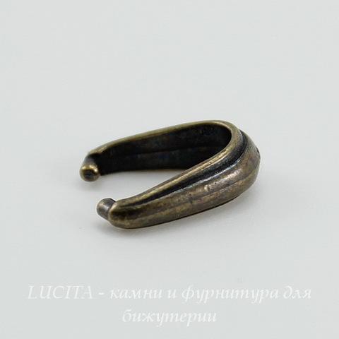"""Держатель для кулона TierraCast """"Nouveau"""" 12х8х4 мм (цвет-античная латунь)"""