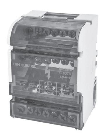 Модульный распределительный блок на DIN-рейку МРБ-125 4П 125А 4х15 групп TDM