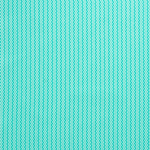 Ткань хлопковая зиг-заг бирюзово-белый мелкий