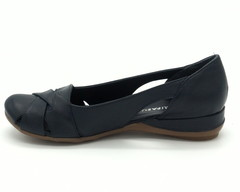 Туфли синие открытые на платформе