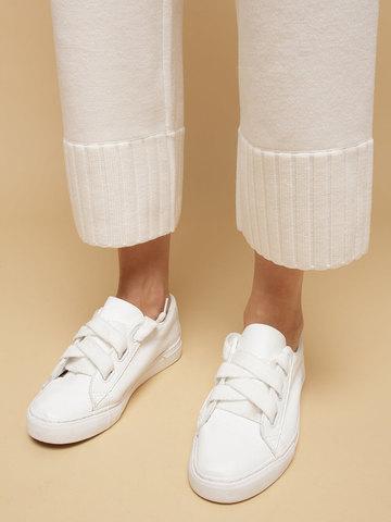 Женские брюки белого цвета из шерсти - фото 6