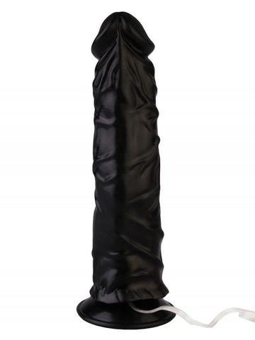 Черный реалистичный вибромассажер №9 с присоской - 19,5 см.