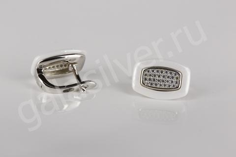 Серьги с керамикой и цирконами из серебра 925