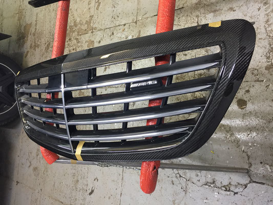 Карбоновая рамка решетки радиатора   для Mercedes S63 AMG W222