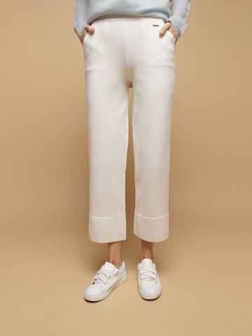 Женские брюки белого цвета из шерсти - фото 4