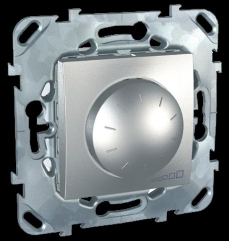 Диммер для ламп накаливания и галогенных ламп 40-1000 В. поворотно-нажимной. Цвет Алюминий. Schneider electric Unica Top. MGU5.512.30ZD