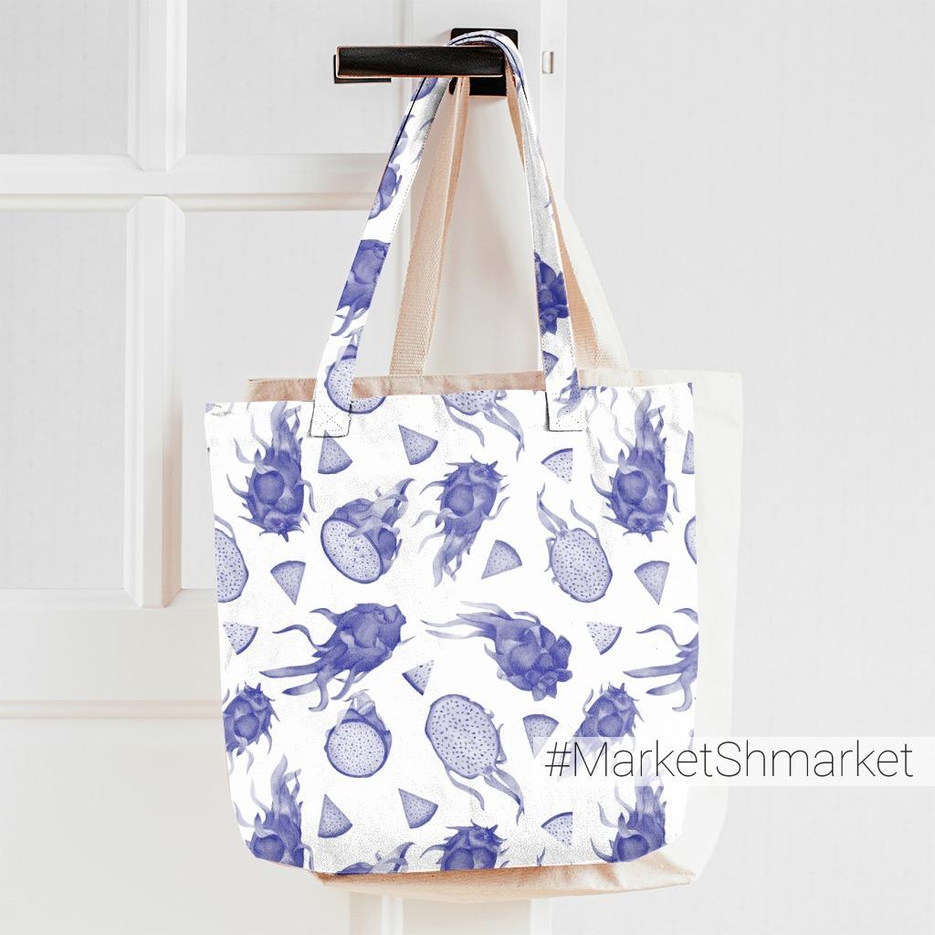 Синий монохром: драгонфруты акварелью