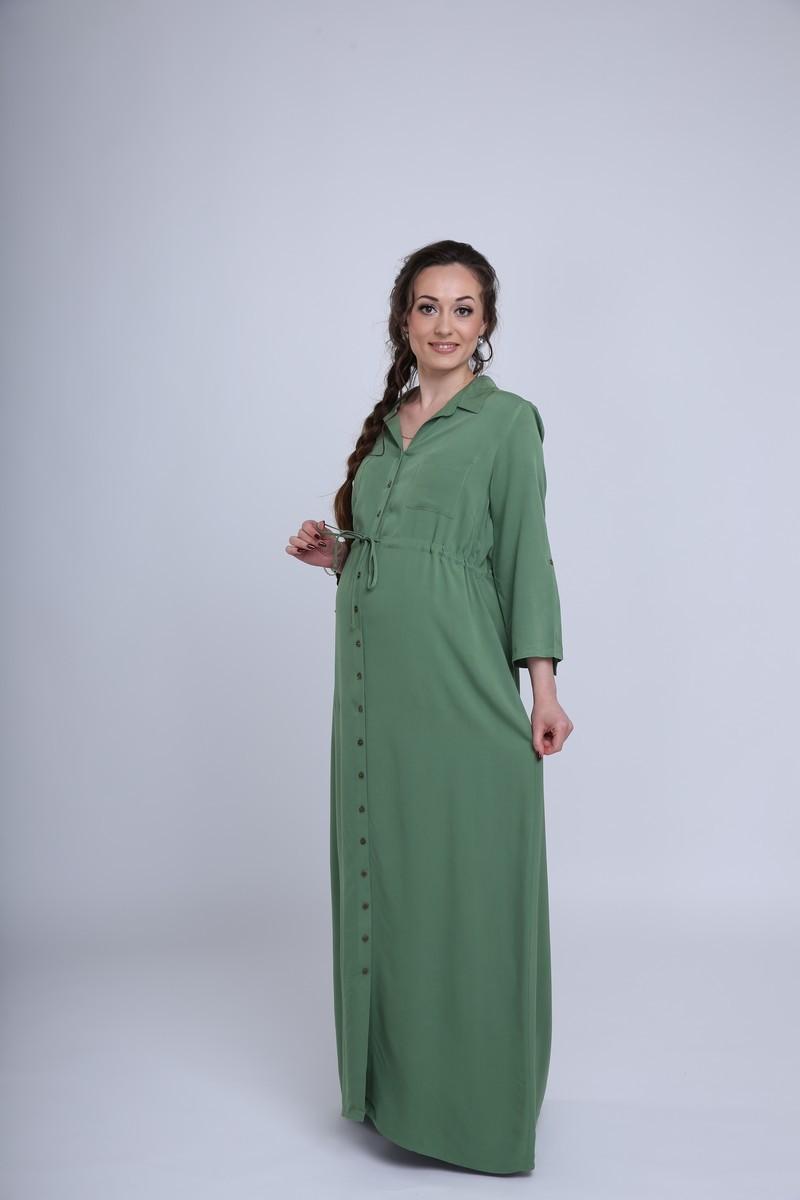 Фото платье для беременных EBRU от магазина СкороМама, длинное, зеленый, размеры.