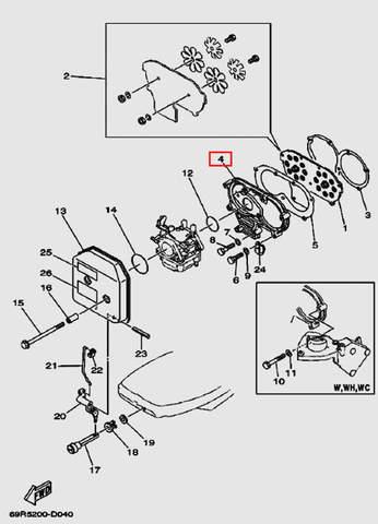 Впускной коллектор для лодочного мотора Т30 Sea-PRO (4-4)