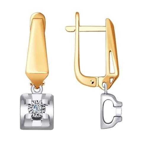 1021248-Серьги из комбинированного золота с бриллиантами