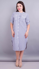 Любава. Платье рубашка больших размеров. Синяя полоса.