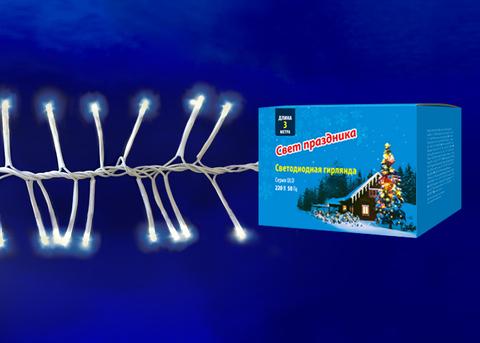 ULD-S0300-200/DTA WARM WHITE IP20 FIRECRACKER  Гирлянда светодиодная с контроллером «Фейерверк», 3м. 200 светодиодов. Теплый белый свет. Провод прозрачный. ТМ Uniel