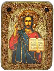Инкрустированная икона Господа Иисуса Христа 20х15см на натуральном дереве в подарочной коробке