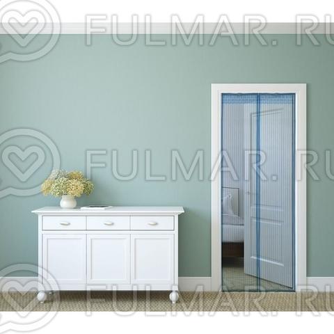 Москитная сетка на балконную и входную дверь на магнитной ленте 80x210 см Голубая