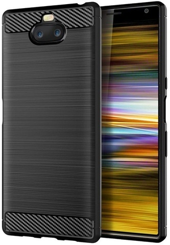 Чехол Sony Xperia 10 Plus цвет Black (черный), серия Carbon, Caseport