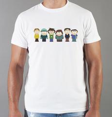 Футболка с принтом мультфильма Южный парк (South Park) белая 007