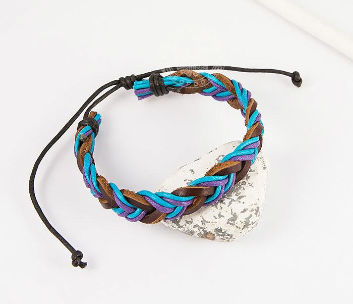 SL0185 Яркий плетеный мужской браслет из натуральной кожи, «Spikes»
