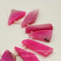 Бусина Агат (тониров) 17-58 мм, цвет - розовый, нить