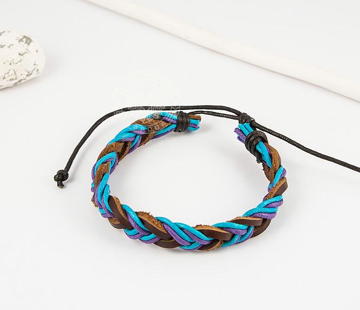 SL0185 Яркий плетеный мужской браслет из натуральной кожи, «Spikes» фото 03