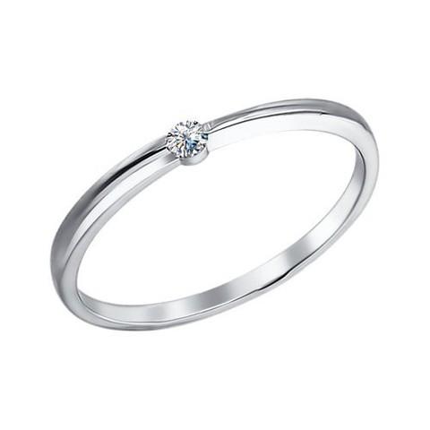 94010628- Изящное, тонкое  кольцо из серебра с фианитом