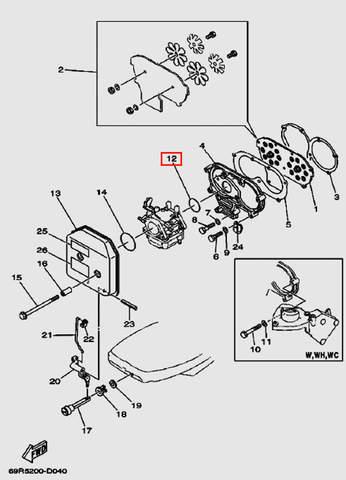 Кольцо уплотнительное карбюратора для лодочного мотора Т30 Sea-PRO (4-12)