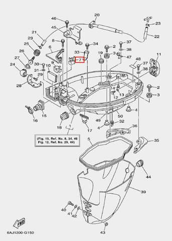 Уплотнитель резиновый для лодочного мотора F20 Sea-PRO (15-7)