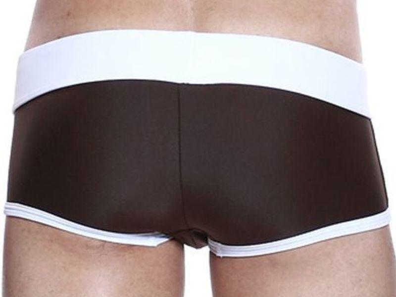 Мужские плавки хипсы коричневые с белым поясом Seobean Marine Hip Boxer