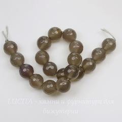 Бусина Агат, шарик с огранкой, цвет - дымчатый серый, 10 мм, нить