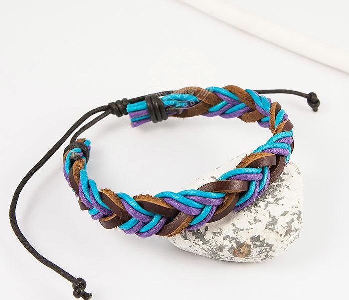 SL0185 Яркий плетеный мужской браслет из натуральной кожи, «Spikes» фото 05