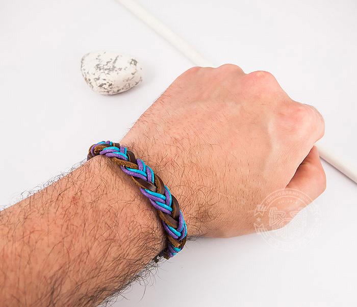 SL0185 Яркий плетеный мужской браслет из натуральной кожи, «Spikes» фото 06