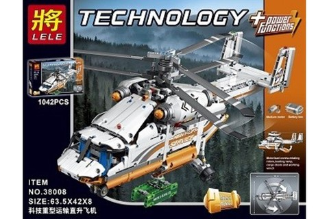 Конструктор LELE Technology Грузовой вертолет 38008 (Аналог LEGO Technic 42052) 1042 дет