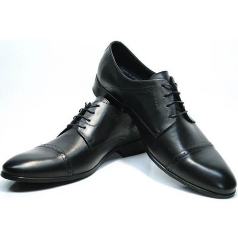 Туфли дерби Икос. Туфли мужские кожаные черные.